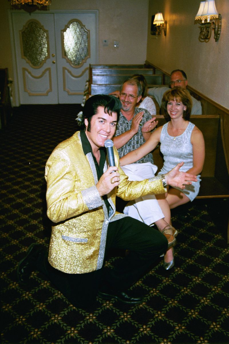 Destination Wedding in Vegas at Graceland Wedding Chapel - The King of Rock & Roll performing!