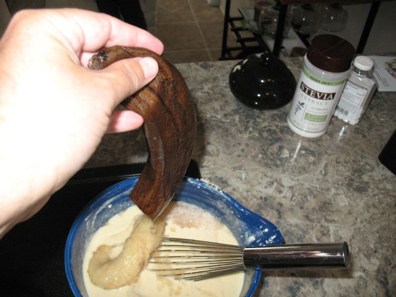 Adding bananas for pancake mix