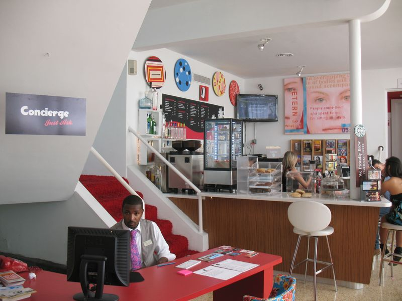 Red Bar and  concierge at Catalina resort hotel in South Beach miami