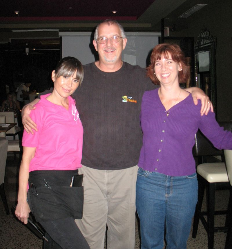 EZTravelpad's Scott & Michelle with Connie the server at Catalina hotel in SOuth Beach