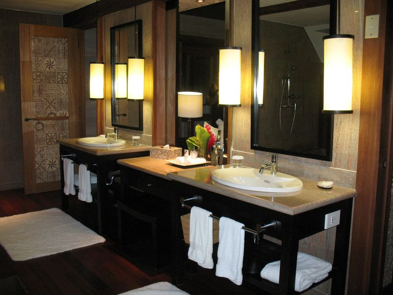 ST Regis Resort Bora Bora overwater bungalow bath vanity