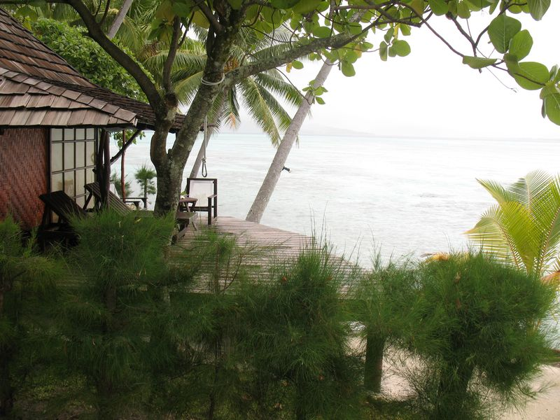 Vahine Island resort bungalow deck