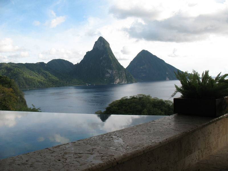 The Pitons as seen from a suite at Jade Mountain in St Lucia